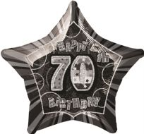 "Glitz 20"" Star Balloon Black & Silver - Age 70"